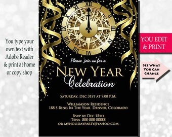 New Years Invitation, New Years Party Invitation, New Years Eve Invitation, Holiday Party Invitation, Holiday Invitation, Gold Glitter Clock