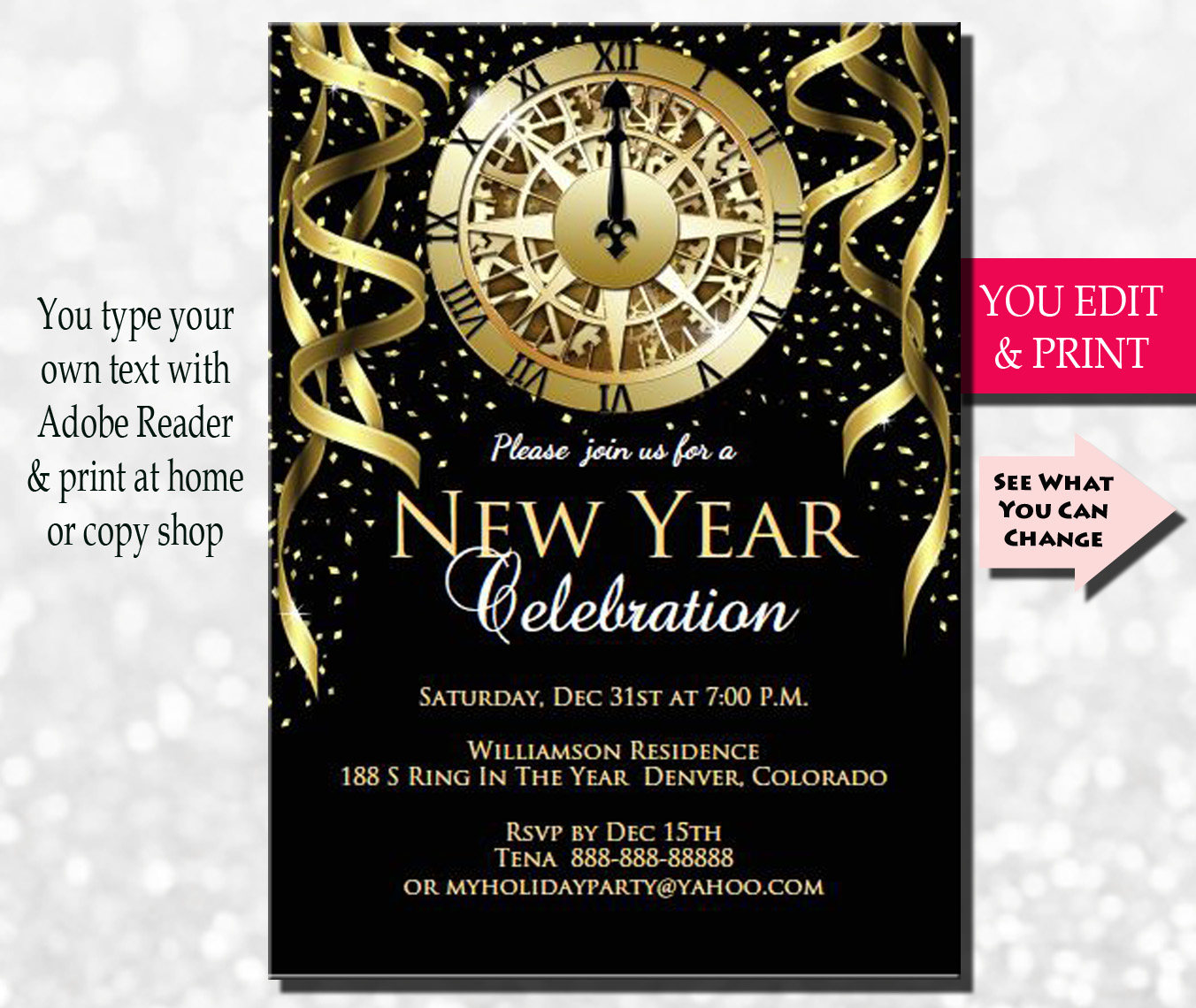 New Years Invitation New Years Party Invitation New Years