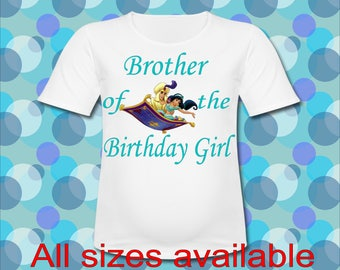 Easy Iron On Transfer Paper Prince Aladdin Brother of the Birthday Girl T shirt Transfer Three Sizes Paper Transfer Decal