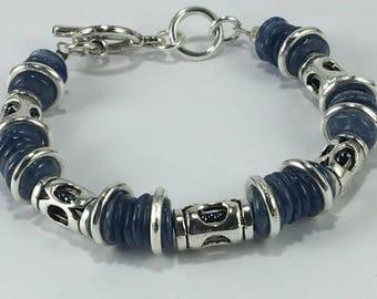 Handmade Men's Genuine Blue Kyanite GemStone Bracelet Jewelry Blue stone bracelet Blue silver Bracelet kyanite jewelry Heishi bracelet