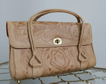 1960s Mexican Handbag - Boho Vintage Leather Hand Tooled Mexican Purse - Top Handle - Embossed - Floral - Light Brown Beige - 8 x 13 x 4