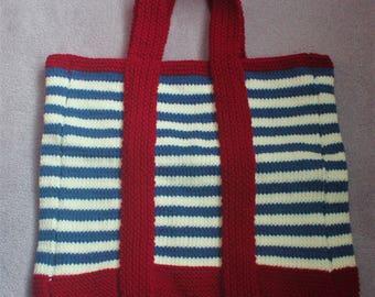 Nautical style knit beach bag