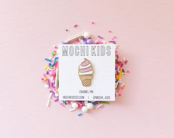 Kawaii Ice Cream Enamel Pin, Ice Cream pin, jean jacket pin, kawaii pin, millenial pink pin,