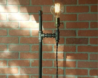 Floor  lamp industrial Edison bulbs  iron pipe