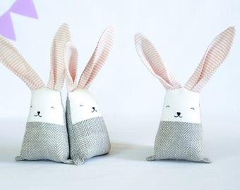 Blush coral bunny rabbit, linen stuffed baby toy. Gift for new mom, baby shower basket, baby nursery decor, crib toys, pastel toys, jumata