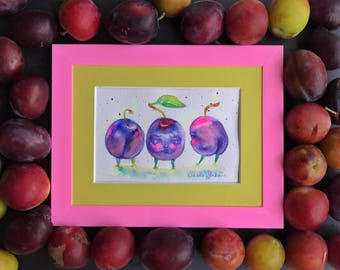 Frooty-booty plums original watercolor drawing. Painting of  plums framed.