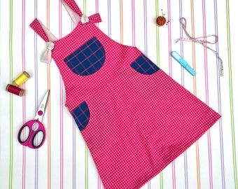 Organic girls dress, girls dungarees, girls pink dress, pink plaid dress, girls pinafore, girls romper dress, organic dungarees, gift