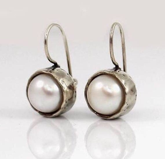 SILPADA EARRINGS W1750 ~ Margarite White Pearl Hammered 925 Sterling Silver Drop Locking Wire ~ NEW In Original Box