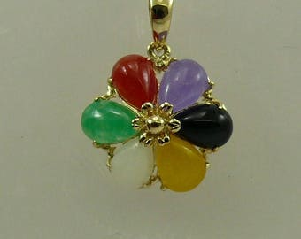Jade Multi-Color and Black Onyx Pendant 14k Yellow Gold