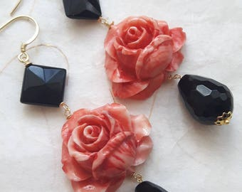 Earrings with rose pink coral, Onyx and silver