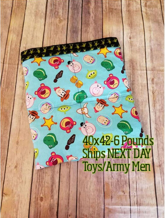 Cartoon, 6 Pound, WEIGHTED BLANKET, Ready To Ship, 6 pounds, 40x42, for Autism, Sensory, ADHD, Calming