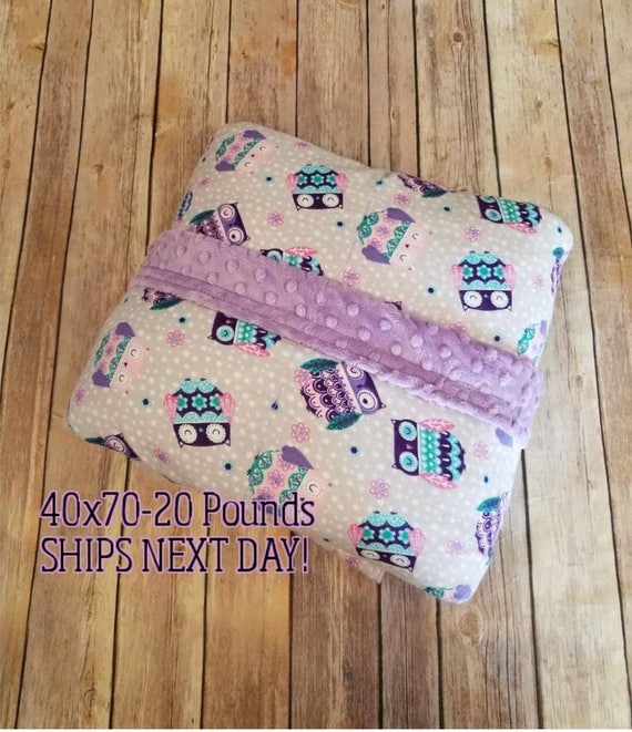 Minky Weighted Blanket, 20 Pound, Owls, 40x70, READY TO SHIP, Twin Size, Adult Weighted Blanket, Next Business Day To Ship