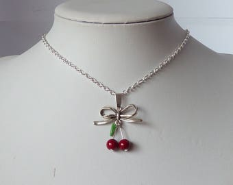 rockabilly cherries and bow necklace pinup tattoo collier cerises et noeud pin up tatouage psychobilly