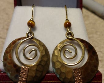 Vintage Pounded Base Metal Earrings with Tiger Eye Beads
