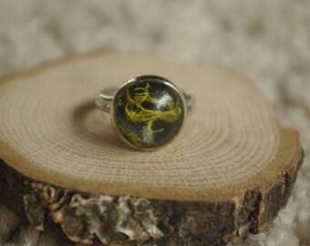resin lichen inlay ring