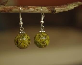 Resin inlay lichen earrings