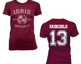 Fairchild 13 Idris University on Women tee Maroon