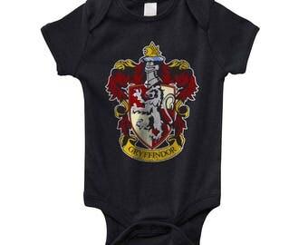 Gryffin #1 Crest on Infant Baby Rib Lap Shoulder Creeper Onesie