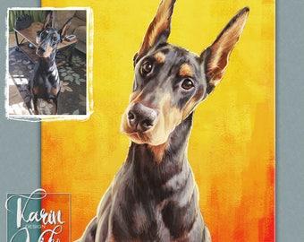 Custom pet portrait Boston Terrier Painting   Portrait from your photos   Custom portrait