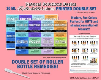 Essential Oil 10ml roller bottle remedy Label Pack by Nana's Botanical Basics - DOUBLE SET 16 total labels