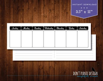 Printable Weekly Planner - Eternal Calendar - Elegant Black Daily Calendar - Instant Download