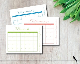 Elegant 2018 Printable Wall Calendar - Casual, Colorful, Monthly Wall Calendar for Family, Home & Office Planner - Instant Download Calendar
