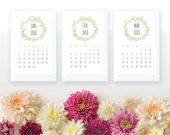 2018 Printable Wall Calendar - Woodland Green Leaf 12 Monthly Calendar - Green, Gray Nature Calendar - 2018 Instant Download Calendar