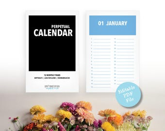 Editable PDF, Printable Perpetual Calendar - Modern Color Block Eternal Birthday, Anniversary, Calendar - Instant Download PDF