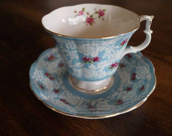 "Royal Albert ""True Love"" Teacup & Saucer, Blue"