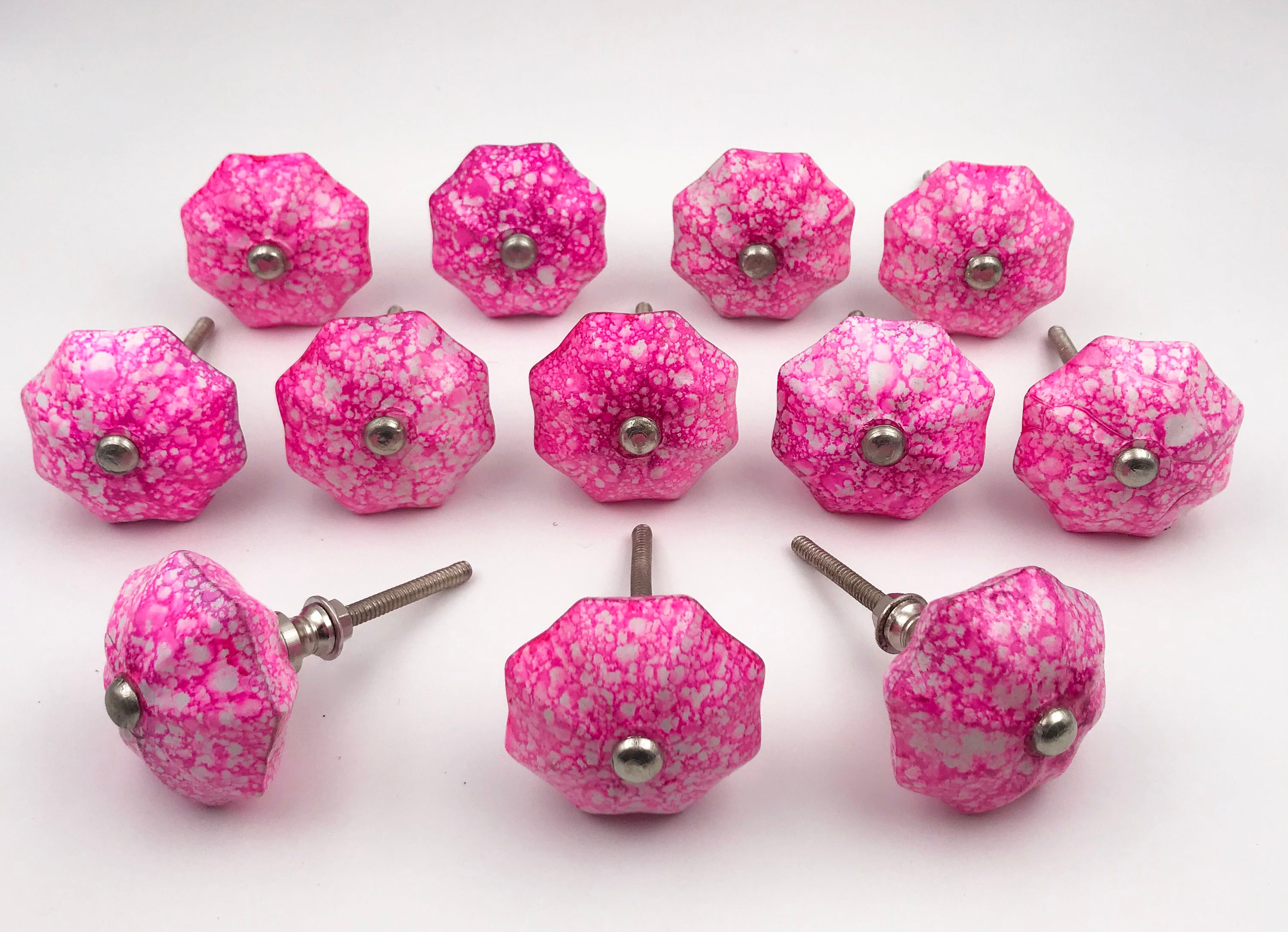 Hot Pink With Some White, Glass Knob, Cabinet Pull, Drawer Pull, Furniture  Knob   Set Of 12, M10Bulk