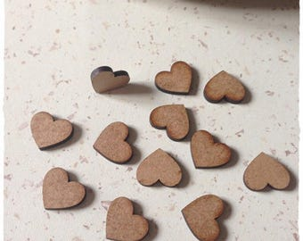 Set of 25 small hearts blank diameter 2 cm thickness 3mm