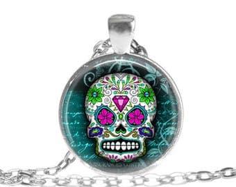 Sugar Skull Jewelry Day of the Dead Jewelry Sugar Skull Pendant Necklace Day of the Dead Pendant Necklace Dia De Los Muertos jewelry