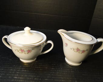MT Hira Rose Wreath Creamer and Sugar with Lid Set 6121 EXCELLENT!