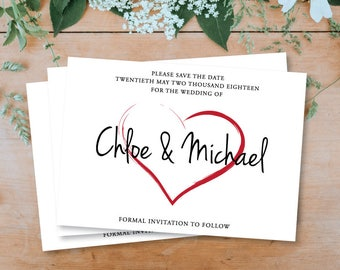 Simple Modern Brush Heart - Personalised Save The Date - Printable Download - PDF Download