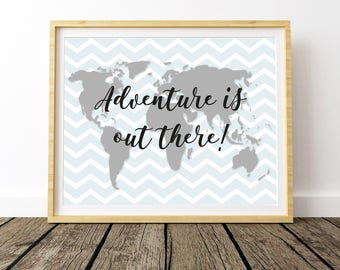 Adventure is Out There, Large World Map, World Map Poster, Kids World Map, World Map Nursery, World Map Print, Map Of The World Print