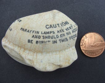 English Sea Pottery Writing CAUTION pot top - Artifacts.