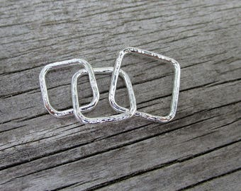 Mama metal / modular jewelry Simple Squares fine silver centerpiece // ready to ship