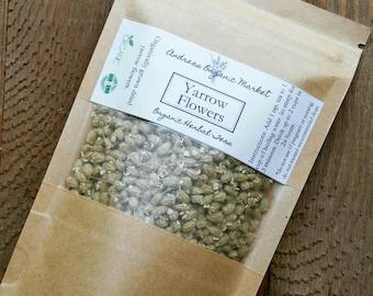 Organic Dried Yarrow Flowers, Organic Loose Leaf Tea, Fresh Dried Herb, Herb Tea, Herbal Loose Leaf Tea, Organic Yarrow Flower Dried Herb