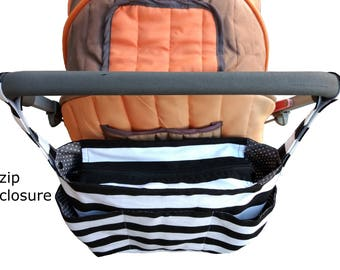 stylish pram caddy / stroller organiser / pram bag with flap close or zipper close- Black and white stripes