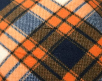 Fleece Big Dog Jacket -  Navy and Orange Plaid