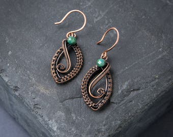 Copper Leaf Earrings - Wire Wrapped - Green Picasso Czech Glass
