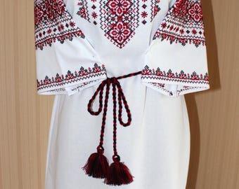Dress Ukrainian embroidery cross-stichied