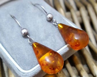 Vintage solid silver earrings, genuine tested amber dangle, 925 silver