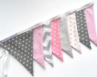 Grey, White and Pink Bunting