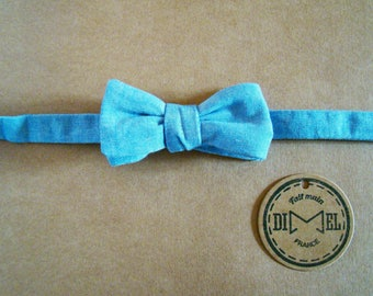 Bow tie adjustable chambray blue on order