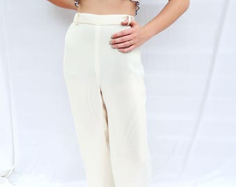 80s Cream Wide Legged Palazzo Trousers, Wide Legged Trousers, Cream Palazzo Trousers, Cream Wide Legged Trousers, Modern Cream Pants