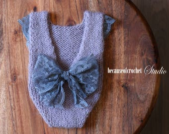 """Sale! Newborn baby girl knitted romper bodysuit. Size: 0-1 month (length 8"""", hip width 5""""). Made from very soft italian angora/acrylic yarn"""