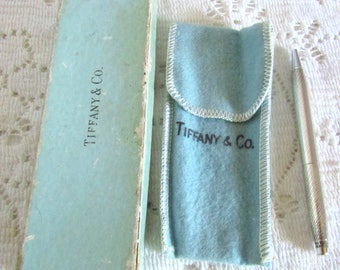 Beautiful Vintage Tiffany & Co. Sterling Silver Twist Ball Point Pen w/ Bag/Box