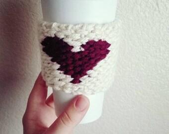 Heart Cup Cozie / Mug Cozy / Coffee Cozy / Cup Cozy / Valentine Cozy