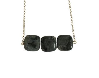 Labradorite Three Square Silver Handmade Necklace